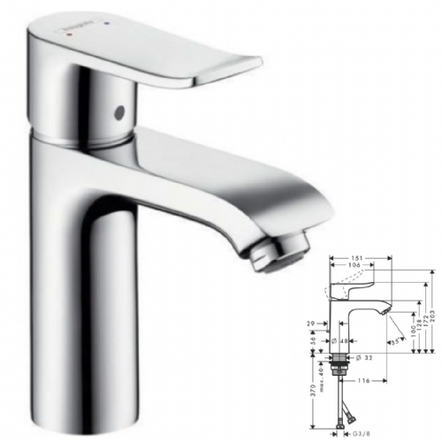 Hansgrohe Metris Single Lever Basin Mixer With Waste - Model Number 31203000